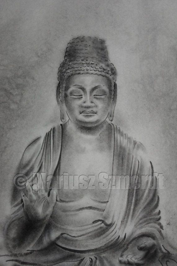 Original japanese sumi-e handmade art BUDDHA buddhism portrait SCULPTURE ink PAINTING artist Mariusz Szmerdt watercolor black white grey