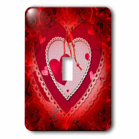 3dRose Pretty red gradient background and decorated paper heart and bows, Single Toggle Switch