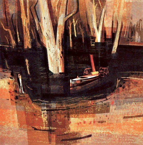 Kenneth Jack : Billabong with sunken Paddle Steamer multimedium, lino, stencil,woodut 27 plates!