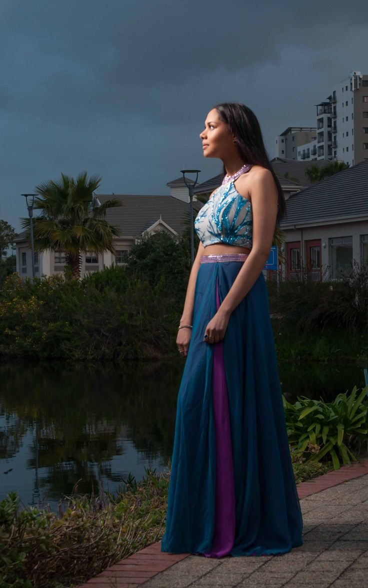 Tyler joined me for a post matric Ball shoot in Canal Walk. She is wearing a stunning blue and pink chiffon dress