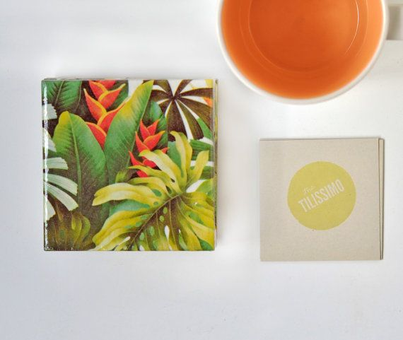 Loving these Tropical Coasters Green Jungle Spring Summer Emerald by Tilissimo