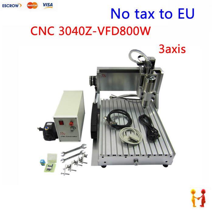 Europe No tax ! mini desktop cnc router machine 3040 Z-VFD 800w 3 axis 0.8KW VFD water cooling spindle  cnc machine