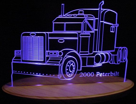 "2000 Peterbilt Semi Truck Acrylic Lighted Edge Lit LED Sign / Light Up Plaque 13"" Desk Model"