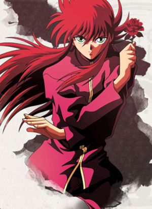 "Yoko Kurama (妖狐蔵馬, lit. Yōko Kurama; in the English dub, Kurama the Yoko), also known as Shuichi Minamino (南野秀一, Minamino Shūichi translated as Southern Field and Excellence First, respectively), is a main protagonist in the anime/manga series of YuYu Hakusho. The word Yoko, despite being portrayed as a name in the dub, actually literally translates to ""demon fox"" in Japanese."