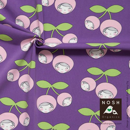 Cherry Friends, Lilac. NOSH organic cotton jersey