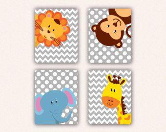 Conjunto selva guardería Animal Print  elefante mono jirafa