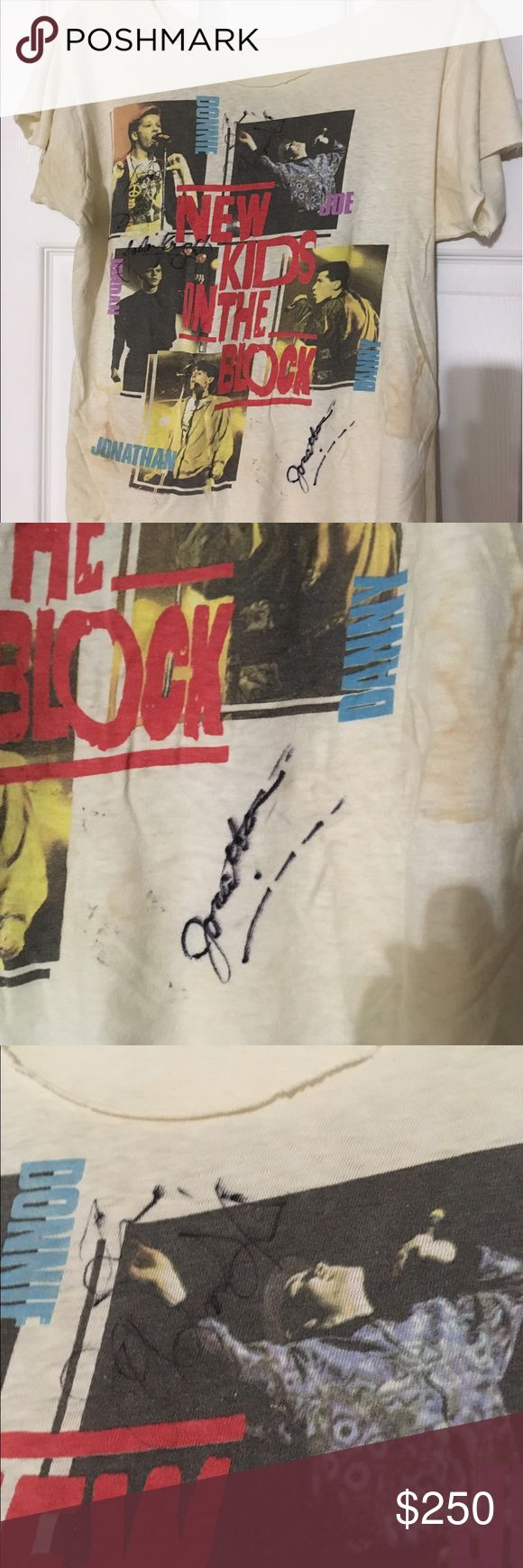 Autographed New Kids on the Block Vintage T-Shirt ORIGINAL NEW KIDS ON THE BLOCK 1989 HANGIN TOUGH WORLD TOUR T-SHIRT SIGNED!  This awesome collector's item has been autographed by Donnie, Joey, Jordan, and John!  Shirt shows signs of age discoloration (see photos). Vintage Tops Tees - Short Sleeve