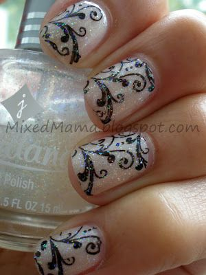 Nude Vintage Design: Made with Monster Bundle nail stamping plates.