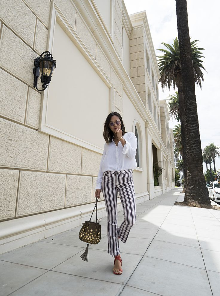 Aimee Song of Song of Style weaing the Jocelyn in Emerson Stripe || Shop on PAIGE.com