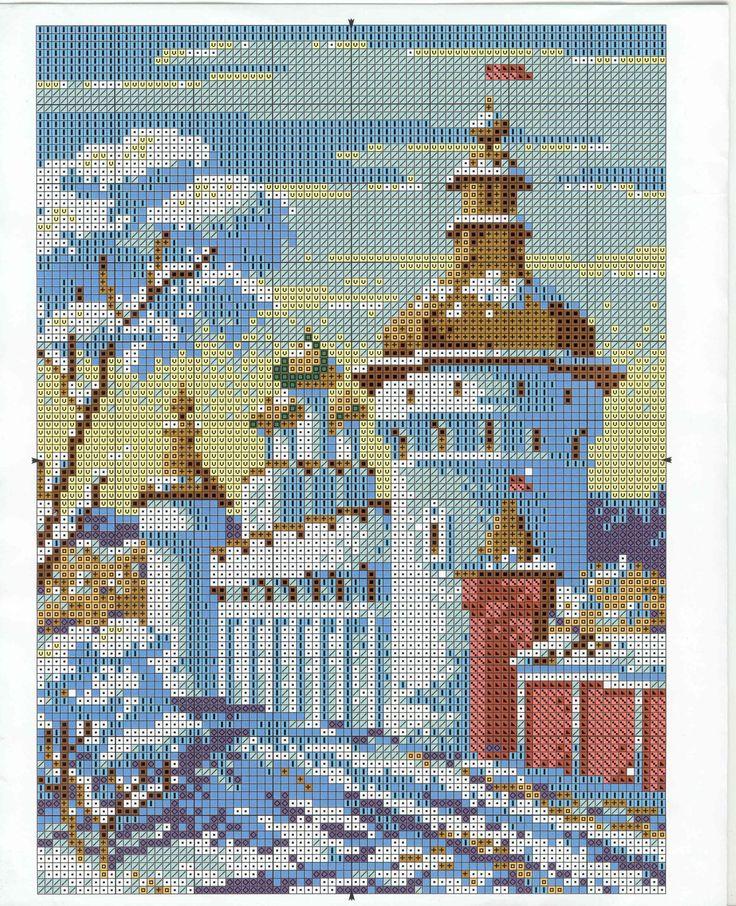 Схема вышивки крестом православного храма #вышивка #православие #храм #церковь