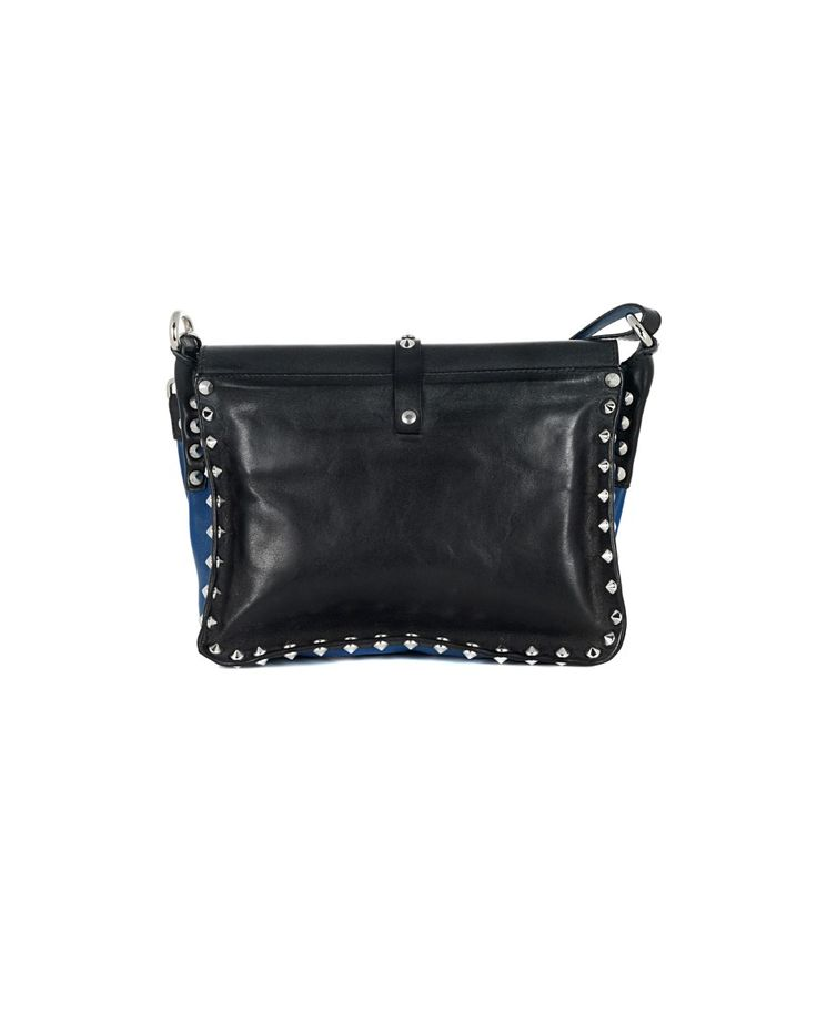 HTC LEATHER BAG WITH STUDS Black leather bag with blue trim removable leather shoulder strap decorated with studs front buckle closure Size: 25x18x10 cm 100% Leather