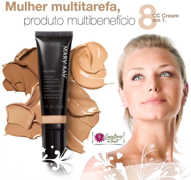 Conheça o CC Cream Multibenefícios da Mary Kay Brasil São 8 benefícios em 4 tonalidades e apenas 1 passo para uma pele impecável.  O CC Cream Multibenefícios FPS 15 entrega oito benefícios em um produto para deixar sua pele com um acabamento perfeito.  Gostou da dica, fale com uma consultora Mary Kay.