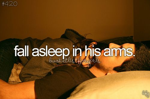 Fall asleep in his arms ( after married obviosly)