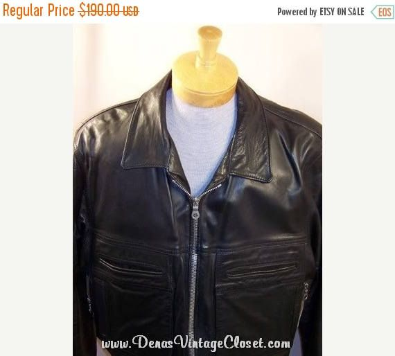 50% Off SALE Vintage Black Leather Motorcycle Police Jacket