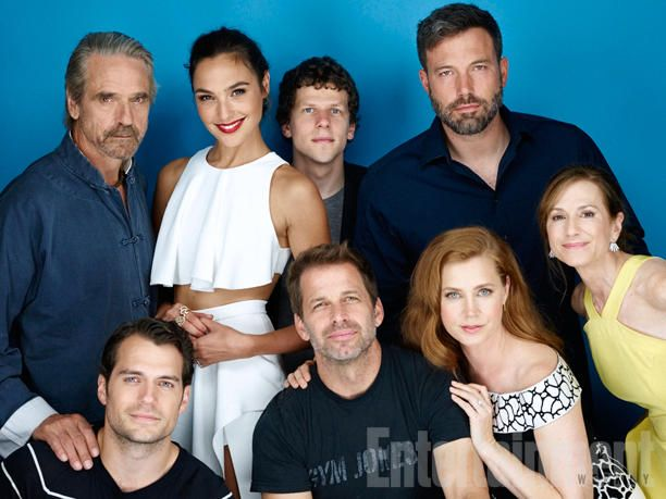 (Back row, l-r) Jeremy Irons, Gal Gadot, Jesse Eisenberg, Ben Affleck; (front row, l-r) Henry Cavill, director Zack Snyder, Amy Adams, Holly Hunter, 'Batman v Superman - Dawn of Justice' #EWComicCon  Image Credit: Michael Muller for EW