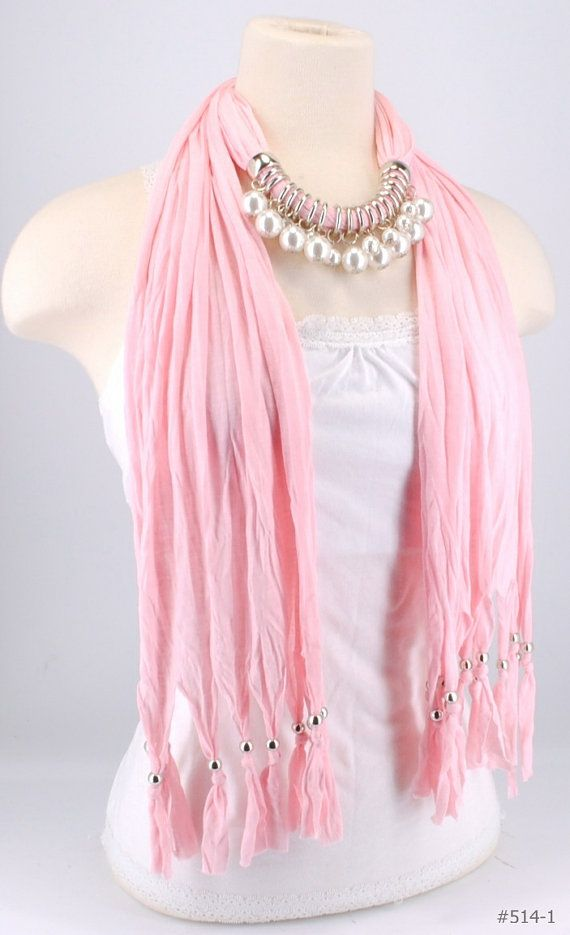 Pink Pearl Silver Beaded Scarf With Charms by CreationsbyTerra on etsy