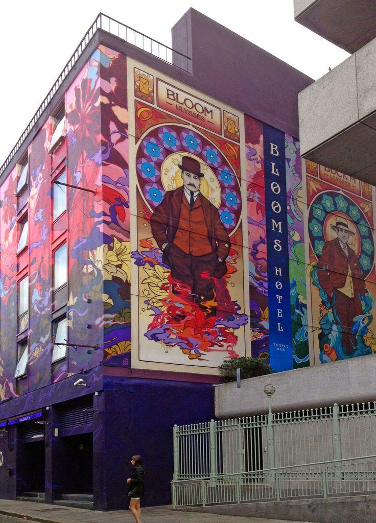blooms hotel dublin, blooms hotel mural, art nouveau mural temple bar, ulysses mural dublin, james earley