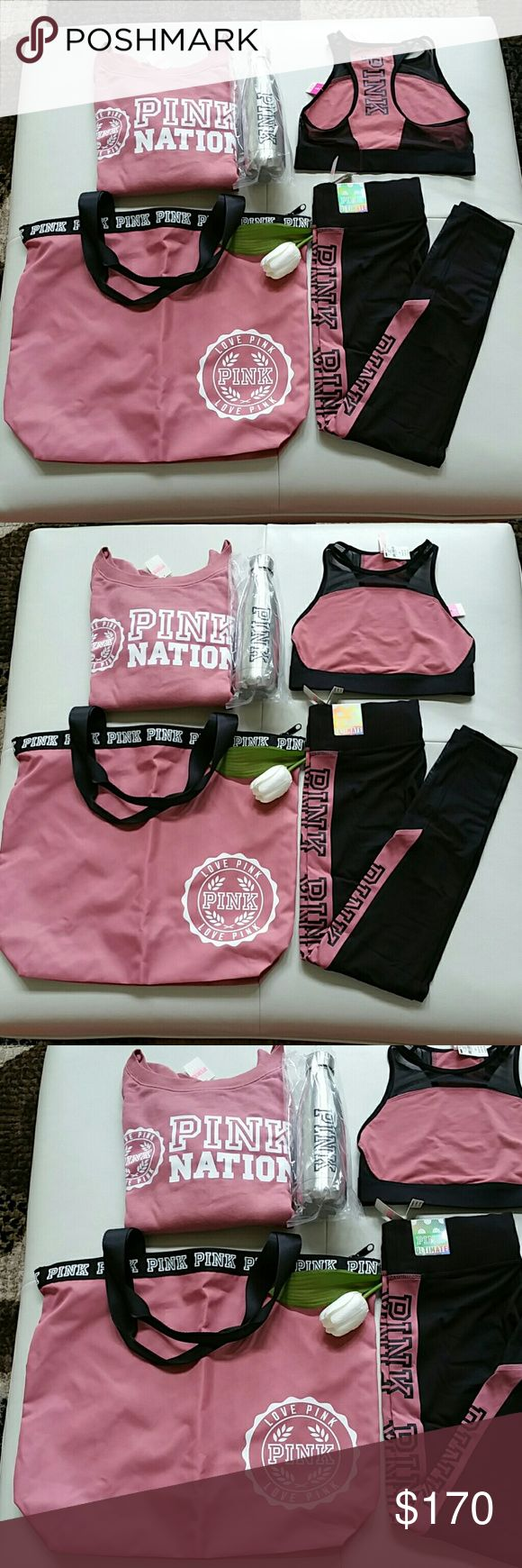 PINK VICTORIA SECRET SET SIZE SMALL. NEW WITH TAG Brand new pink victoria secret set . Slouchy crew, legging, top,waterbottle, tote,backpack.  Great for gift  Size Small.  New with tag never worn,never try  Smoke and pet free home. Fast shipping + extra gift.  Price firm bc 20% posh fee. PINK Victoria's Secret Tops Sweatshirts & Hoodies