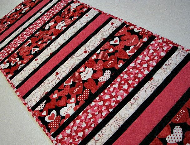 Quilted Table Runner , Valentine's Day Table Runner , Red/Pink/White/Black Hearts and Filigree, Quiltsy Handmade by VillageQuilts on Etsy