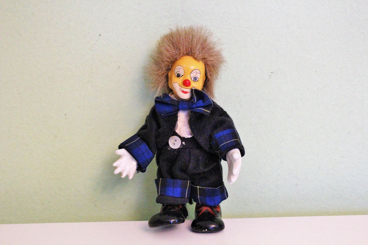 Porcelain Ceramic Clown Doll, Blue Costume, Blue Outfit Clown Figurine Figure, Collectible by Grandchildattic on Etsy