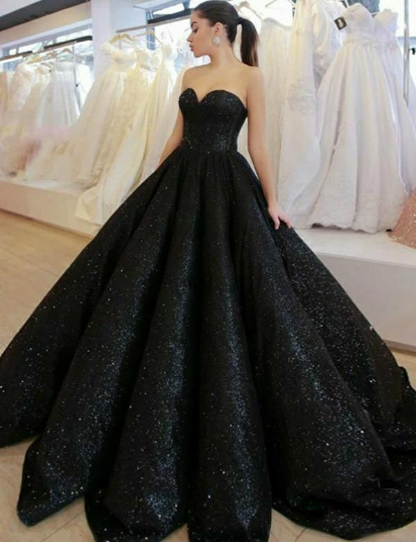 513412acf9 Ball Gown Long Sweetheart Black Evening Gown with Sequins Prom Dress –  ericprom