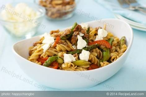 Photo of Asparagus, Mushroom, and Sweet Bell Pepper Pasta with Goat Cheese