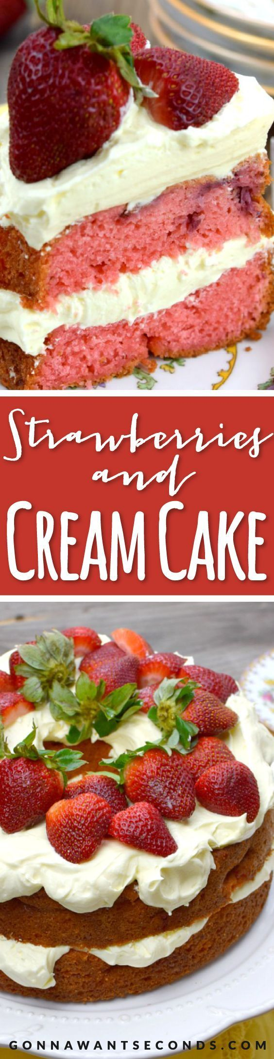 This Strawberries and Cream Cake is made up of super moist strawberry cake with layers of luscious vanilla cream and of course loads of fresh strawberries!