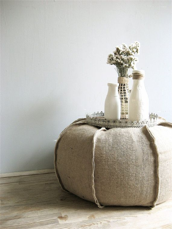 Burlap XLarge Pouf/Ottoman by lovintagefinds on Etsy. , via Etsy.