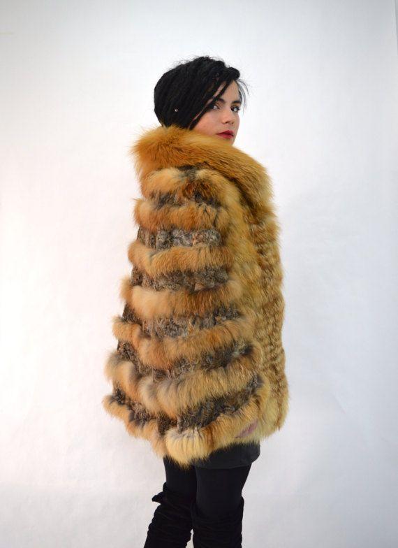 Real fox fur cape Canadian red fox fur cape. Bridal shawl by BeFur