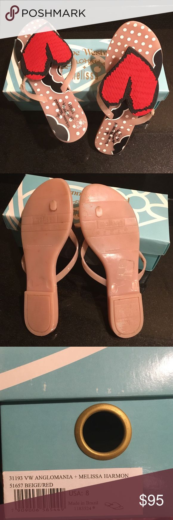 Vivienne Westwood heart flip flops. Nude and red rubber flip flops. Practically new! Worn once. Has box and dust bag. Vivienne westwood  Shoes Sandals