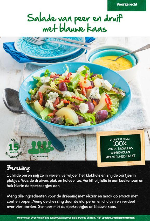 Recept voor een salade van peer en druif met blauwe kaas #Lidl