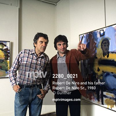 #Creativity. It runs in the #family: #RobertDeNiro and his #father, #artist Robert De Niro Sr., stand amongst paintings by the latter in this photo by Gunther.  #art #abstract #expressionism #mptvimages