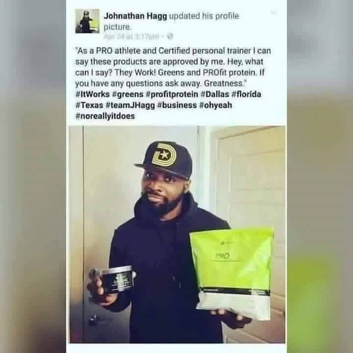 SAY WHAT!!! Well there you have it...even Johnathan Haggerty former NFL wide receiver for the Cleveland Browns and Chicago Bears shares his LOVE for our ItWorks products!  (note: It Works Global does not pay celebrities to endorse our products. If they are sharing them it's because they love them. I'm telling You... #ItWorks!!  Message me if you have any questions. We have over 40 all natural products that help with your health and wellness as well as your Skincare needs. Find out what all…