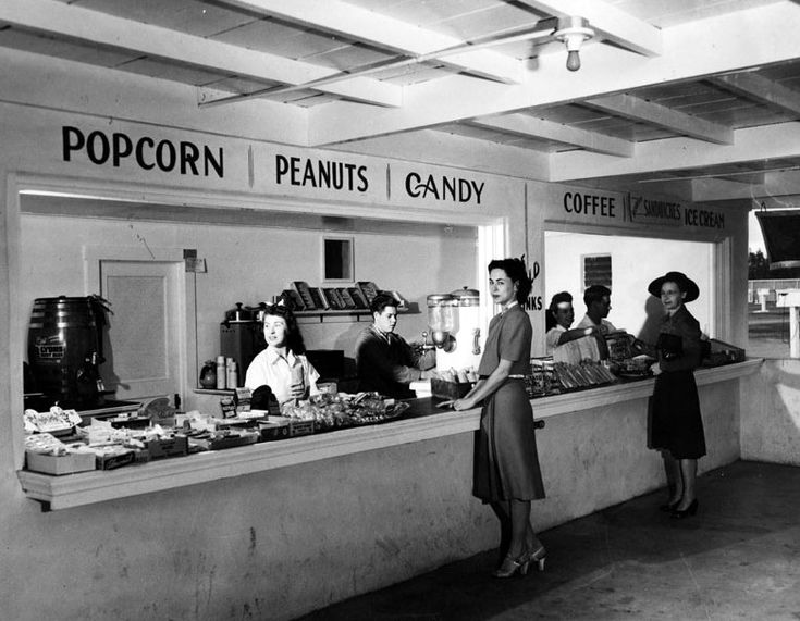 Movie theater concession worker 1950 39 s drive in theater for American cuisine movie