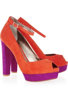 DKNY  Corey color-block suede peep-toe pumps