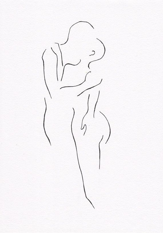 Black and white ink drawing sketch of two nude figures by siret roots.                                                                                                                                                                                 More