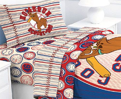 Scooby Doo Baseball Comforter | Scooby Doo Baseball Homerun   4pc Bed Sheet  Set