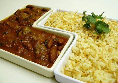 Fasolia (Arab style chili) with rice.  This is the Lebanese version. I could live on this rice alone.