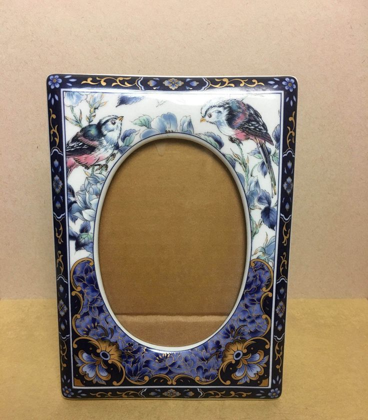 Vintage Otagiri Porcelain Royal Blue Picture Frame with Birds and Flowers - Japan by Anaforia on Etsy