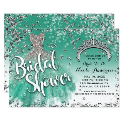 Teal & Silver Glitter Glam Dress Bridal Shower Card - bridal shower gifts ideas wedding bride