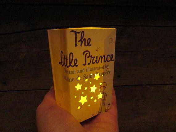 The Little Prince, 2 Petit Luminarias from Original Book Pages, Le Petit Prince, Antoine de Saint Exupery, Little Prince, Book Art