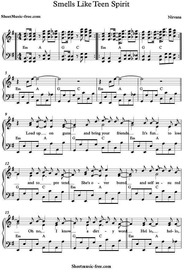 Smells Like Teen Spirit Sheet Music Nirvana Download Smells Like Teen Spirit Piano Sheet Music Free PDF Download