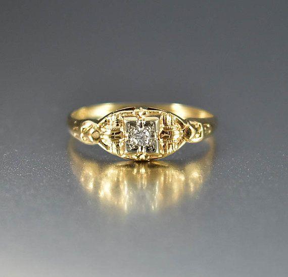 Art Deco oro diamante anillo de compromiso, anillo de diamantes, anillo de boda de oro, prometen aniversario anillo, anillo de novia Vintage, regalos románticos
