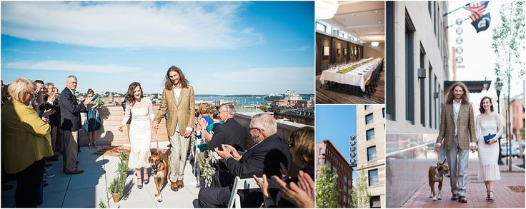 The Press Hotel in Portland Maine was one of my FAVORITE venues and hotels. With impeccable detailing centered around writing and news and a rooftop ceremony spot, this hotel with its UNION Restaurant is a winning combination in downtown Portland.  Destination Maine Weddings as seen on Hill City Bride The Press Hotel by Leah Fisher