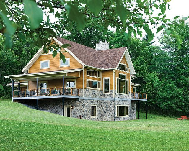 Hillside Timber Cottage Timber Frame Home Exterior Rear