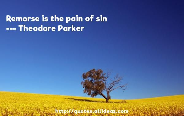 Remorse is the pain of sin  -   Theodore Parker