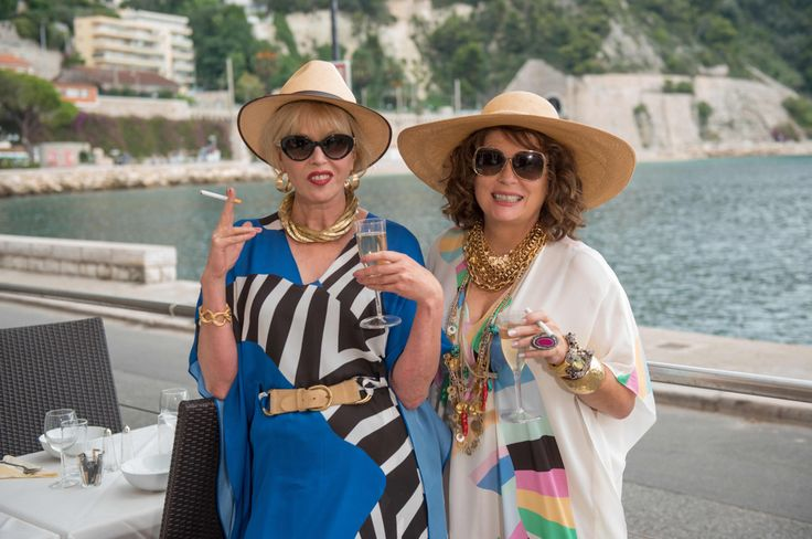 """In a hilarious 2002 episode of the cult British TV comedy """"Absolutely Fabulous,"""" Edina (Jennifer Saunders) channels Paris Hilton's signature """"Oops, my undies are showing!"""" style in a Juicy Couture …"""