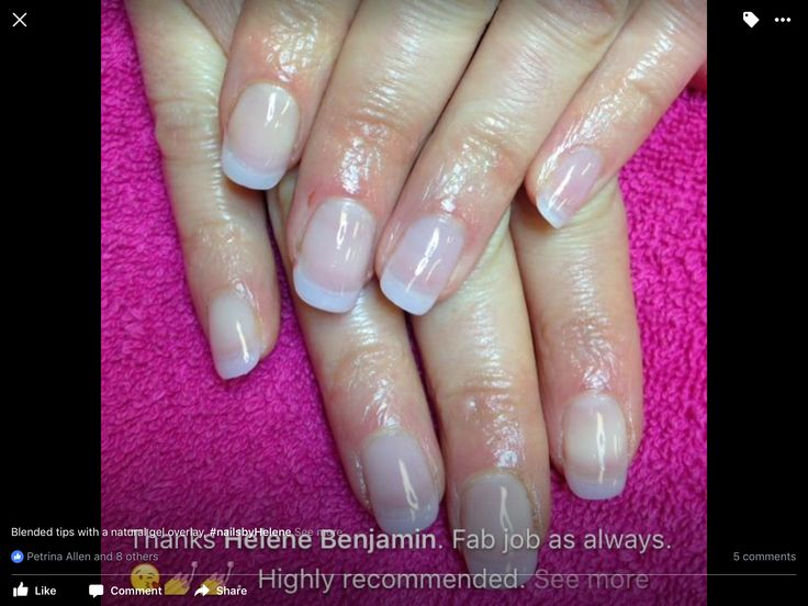 Blended tips with a gel overlay. #Nails by Helene