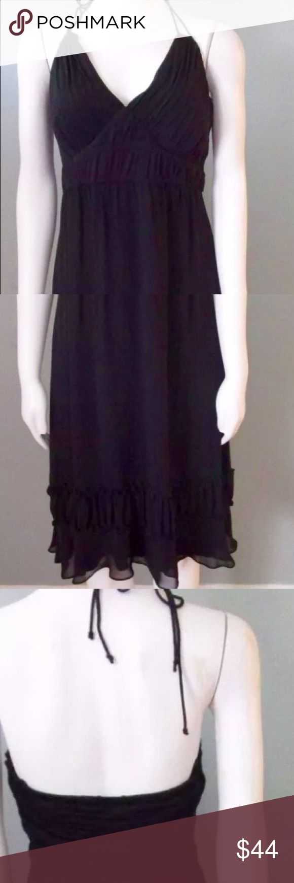 Little black Dress - Halter dress Size 14 Large Little black Dress - Halter dress Size 14 Large. Halter dress with sheer accent along the bottom. Dresses