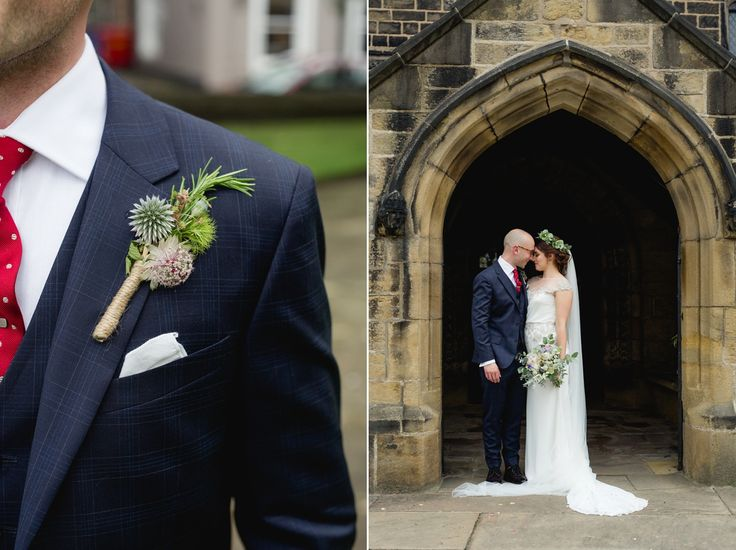 An Enzoani Gown and a Floral Crown for a Pretty Village Hall Wedding. Photography by Mark Newton